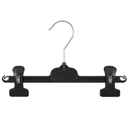 10 Garderobenbügel Kleiderbügel Kunststoff schwarz B 26 cm Hosenklammer Rock