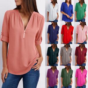 Womens-Chiffon-Long-Sleeve-Pullover-Work-Zipper-Shirt-Blouse-Loose-Ladies-Tops