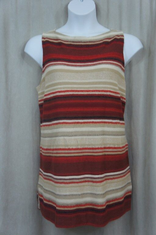 Ralph Lauren Top Woman Sz 1X rot Tan Multi Striped Linen Knit Casual Tank