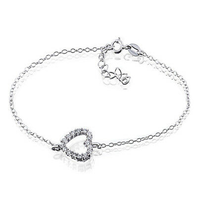 Goldmaid Silber Armband Armkette Herz 925 Sterlingsilber 16 Zirkonia Echtschmuck