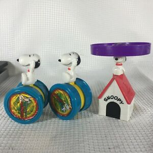 SNOOPY-2000-PULL-STRING-LAUNCH-HELICOPTER-ACTION-DOGHOUSE-CIRCUS-WHEEL-RARE-EUC