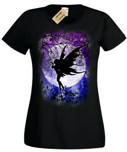 Fairy-moon-T-shirt-Gothic-Fantasy-Woodland-NIGHT-STARS-mignon-femme-femmes