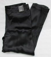 LADIES MARKS AND SPENCER AUTOGRAPH BLACK SATIN STYLE TROUSERS SIZE 14 WITH ZIPS