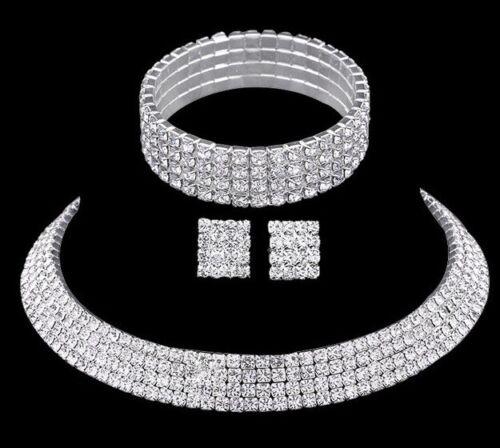 Boda nupcial Gargantilla 4 filas Juego Collar Aretes Pulsera Diamante de Imitación