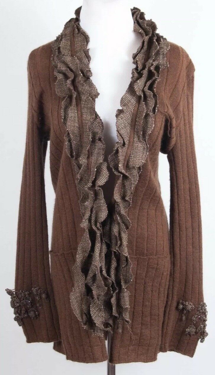 Maurizio Pecoraro Wool bildigan tjock Knit tröja w Layeröd Ruffle w Beads M 8