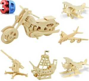3D Jigsaw Wood Craft Kit Realistic Animal Transport Wooden Model Puzzle Toy Gift