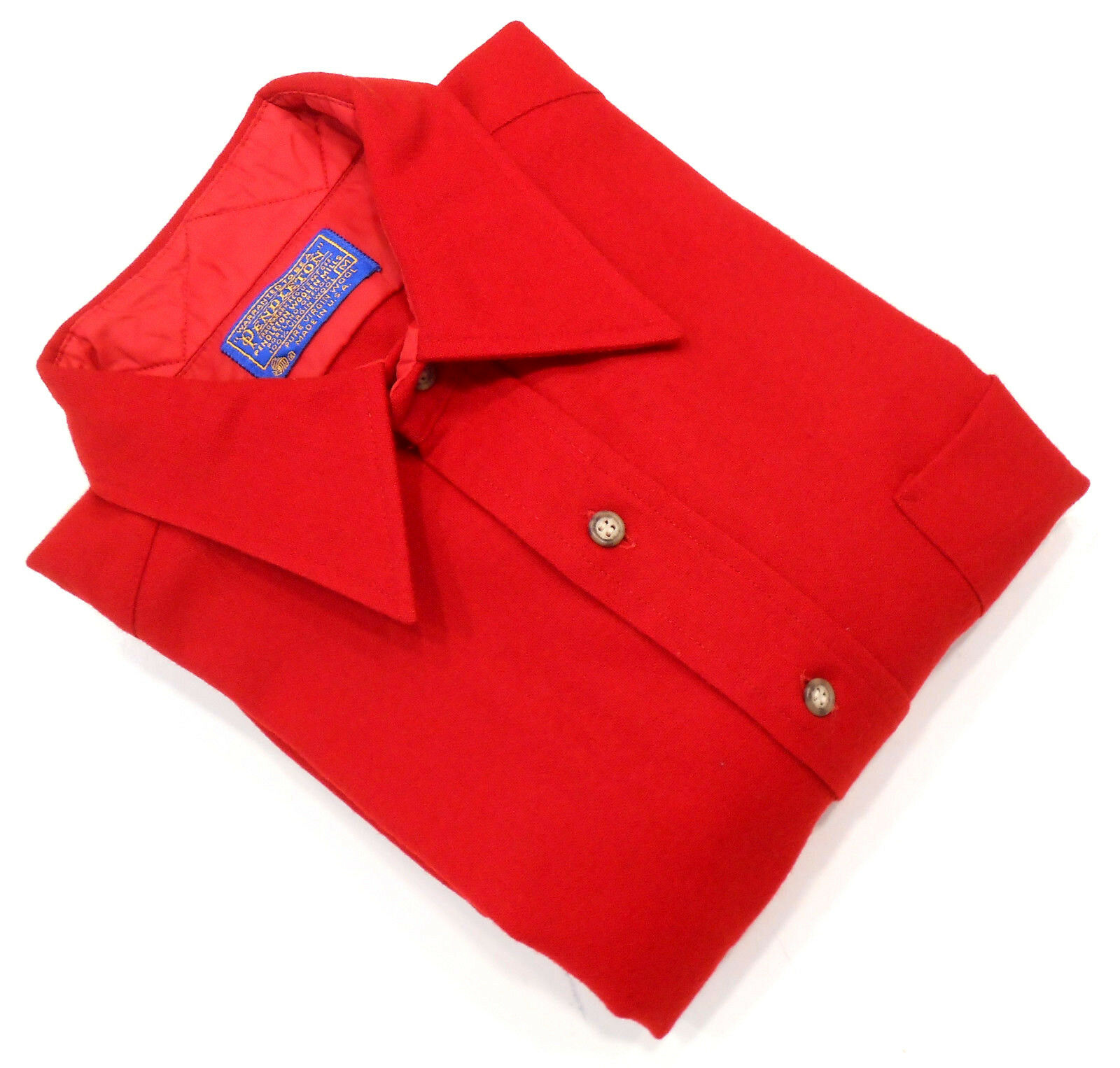 PENDLETON RED VIRGIN WOOL HUNTING WORK FITTED SHIRT MADE IN USA SZ M 15.5 - MINT