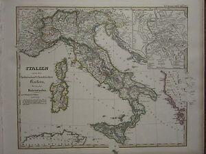 1846-SPRUNER-ANTIQUE-HISTORICAL-MAP-ITALY-UNDER-SAXONY-HOHENSTAUFEN-ROME-PLAN