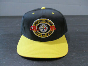 VINTAGE-Pittsburgh-Steelers-Hat-Cap-Snap-Back-Black-Yellow-NFL-Football-Men-90s