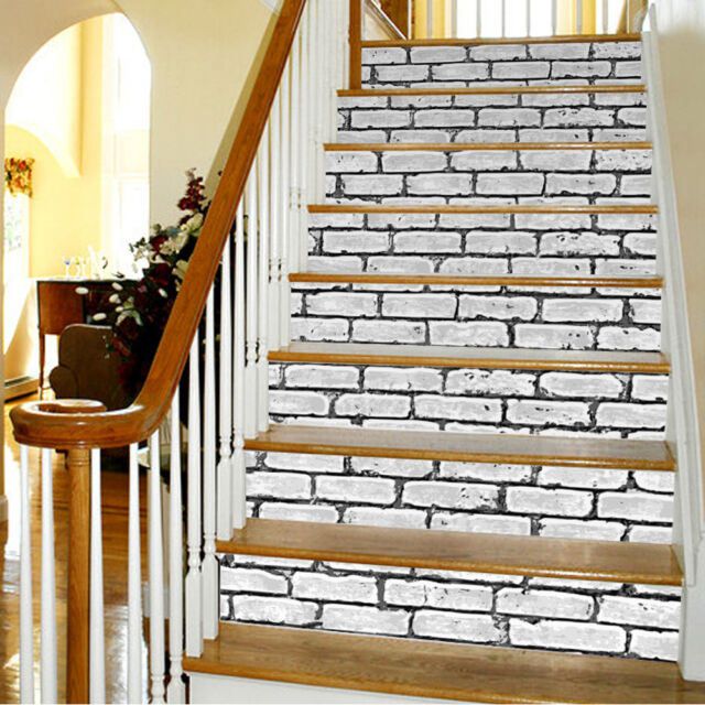 3d brick stair sticker removable diy peel & stick stairs decor wall