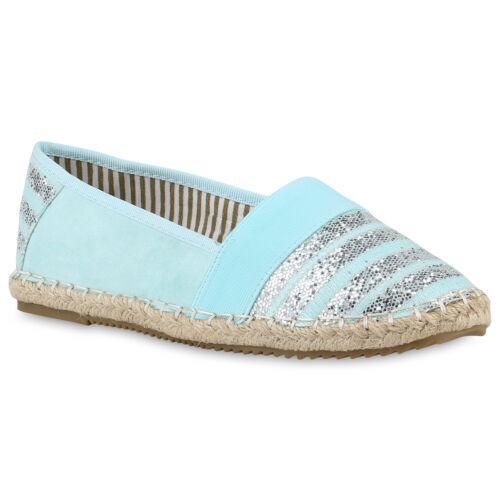 894986 Damen Espadrilles Bast Slipper Glitzer Streifen Sommer Schuhe Trendy
