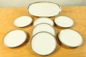 Kuchen-Teller-Platte-Thomas-Porzellan-Medaillon-Platinband-Grauluester