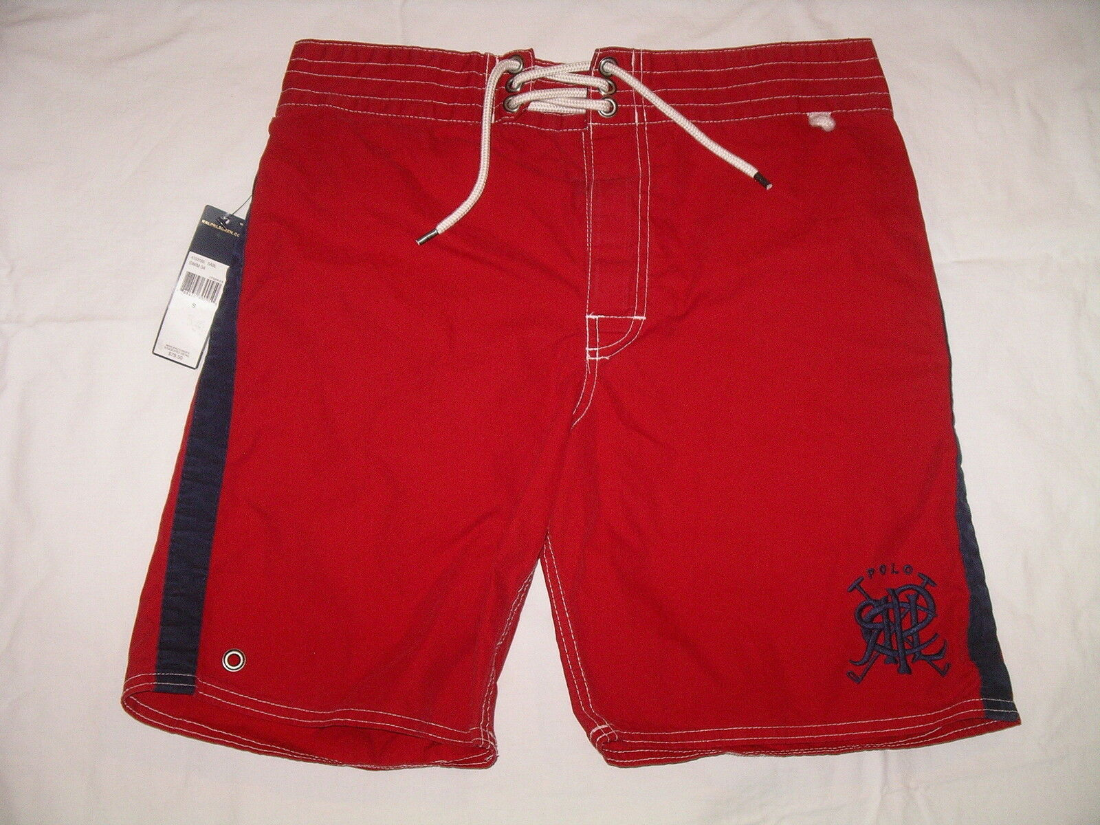 POLO RALPH LAUREN Red Cotton Blend Swim Trunks - S - NWT