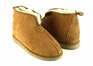 Mens Womens Merino Brown Sheepskin Slippers Ankle Boots Vegetable Tanned