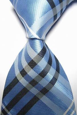 New Classic Checks Baby Blue Black JACQUARD WOVEN 100% Silk Men's Tie Necktie