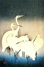3 Japanese Woodblock Egret Bird Prints by Ohara Koson & Shoson Picture Posters