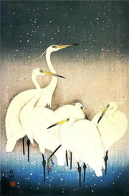Rapture 3 Giapponese Xilografia Egret Uccello Stampe Di Ohara Koson & Shoson Immagine Asian Antiques Other Asian Antiques
