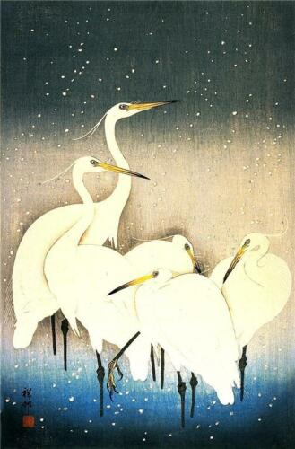 3 Japanese Woodblock Egret Bird Prints by Ohara Koson /& Shoson Picture Posters
