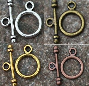 30Sets-Retro-Silver-Golden-Round-Findings-Toggle-Clasps-For-Jewelry-Accessories