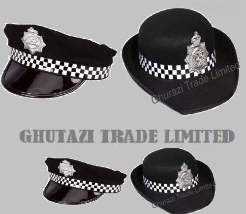 la policía para Mujer Señora De Cobre Sombrero Gorra adultos Fancy Dress Costume La policía para hombre