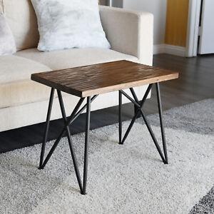 Wooden-Side-Table-Rustic-Stool-19-034-Metal-Legs-WELLAND