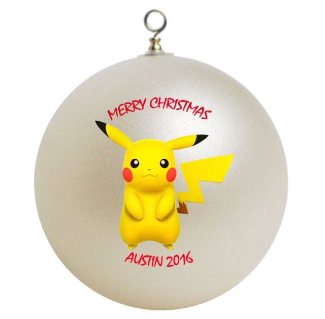 Pikachu Christmas Ornament.Personalized Pokemon Pikachu Christmas Ornament Gift Add Name