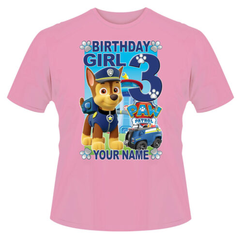 Paw Patrol Birthday Girl Chase Personalised Girls T-Shirt Gift Present