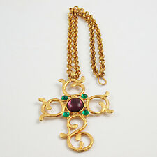 Vintage Carol Dauplaise Signed Jeweled Cross Pendant Necklace