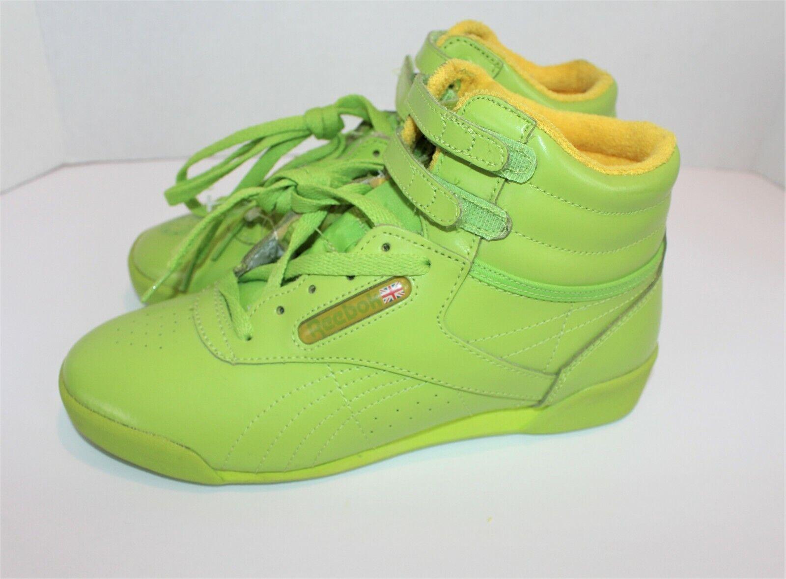 Para Mujer Reebok Freestyle Classic Vintage Nuevo 1980s Alta Top Aerobic Zapatos 4.5 verde