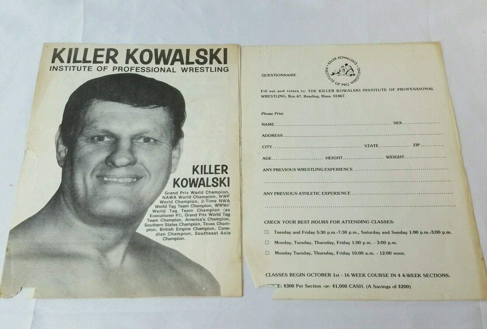 Vintage Killer Kowalski Institute Professional Wrestling Course Application WWF