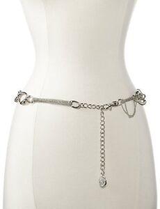 AK-Anne-Klein-Womens-Designer-Chain-Belt-Silver-Tone-Lobster-Clasp-Closure-Dress