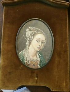 Antique-Tabernacle-Painting-Velvet-Green-With-Embroidery-Madonna-Of