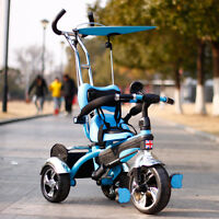 Kyootsi Kids Smart Trike Baby Tricycle 3 Wheel 4 In 1 Bike With Handle - Blue