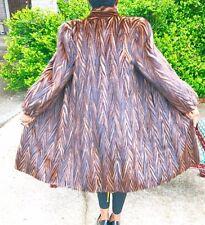 Designer Multicolor Sable hue Tiger stripe Mink fur coat Jacket stroller S-M 2-8
