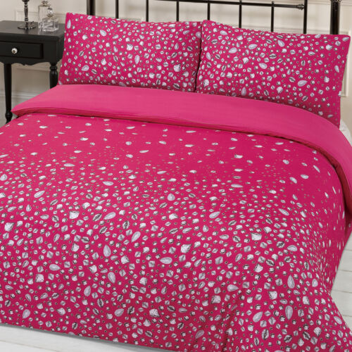 Dreamscene Glitz Gem Glamour Print Easy Care Duvet Quilt Cover Bedding Set