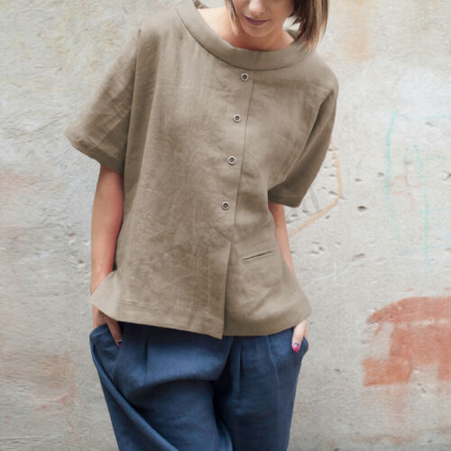 Summer Women Short Sleeve Casual Pure Cotton Top Ladies T-shirt Plus Size Blouse