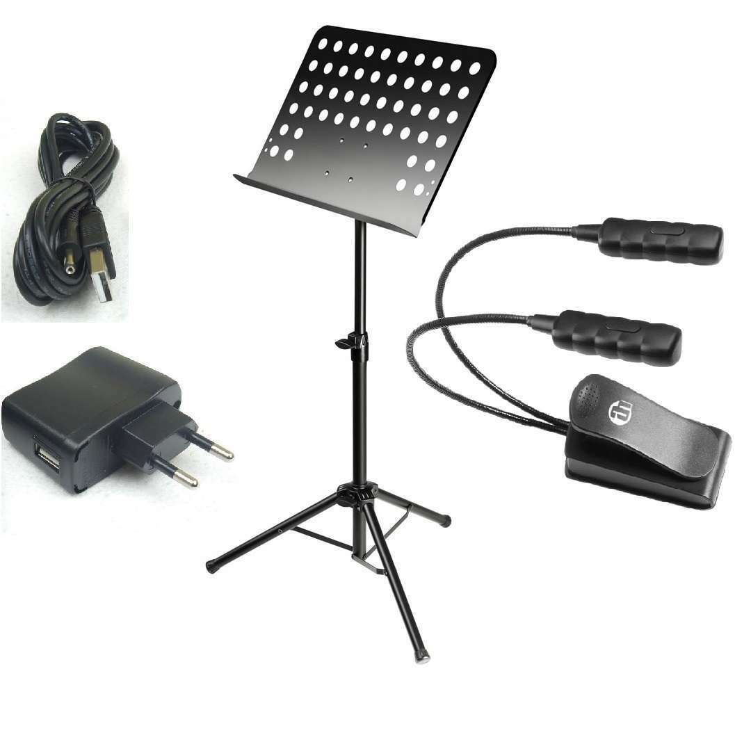 Notenständer zerlegbar + LED Notenpultleuchte Notenpultleuchte Notenpultleuchte + USB-Netzteil, Stativ Klemmlampe 164507