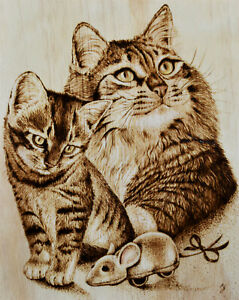 Cute Cat Kitten And Mouse What Is It Mom Pyrography Woodburning Drawing Ebay
