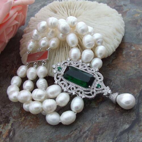 """8/"""" riz blanc perle bracelet CZ Connecteur"""