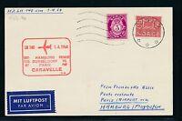 61658) LH FF Hamburg/Düsseldorf - Paris 1.4.64, Karte ab Norwegen
