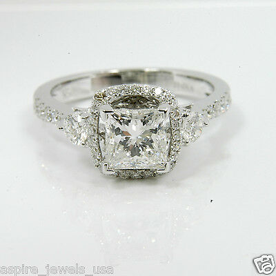 1.75 Ct Princess Cut Solitaire Engagement Diamond Ring Solid 14k White Gold
