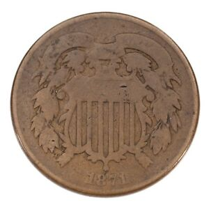 1871-Two-Cent-Piece-in-Good-Condition-Brown-Color-Full-4-Digit-Date