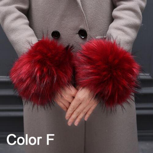 Warm Furry Wristbands Furry Wrist Cuff Arm Warmer Faux Fur Wrist Cuffs