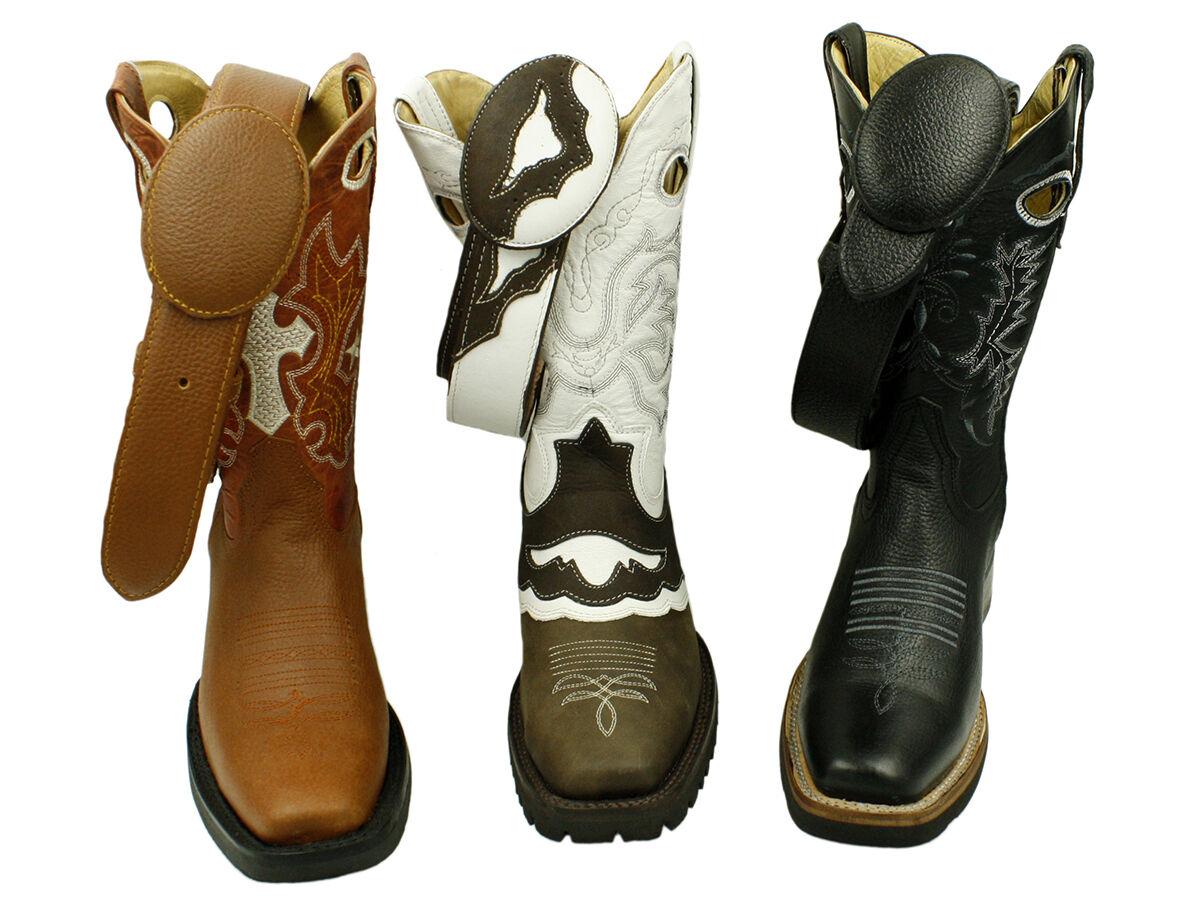 Para hombres Cuero Genuino vaquero occidental Nuevo botas De Vaquero Correa Libre
