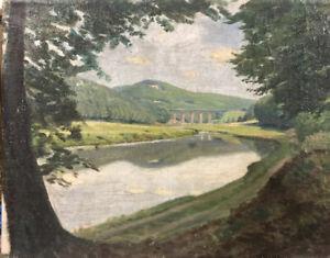 Vintage-German-Painting-Autobahn-Bridge-And-River-Post-Impressionist-1930s