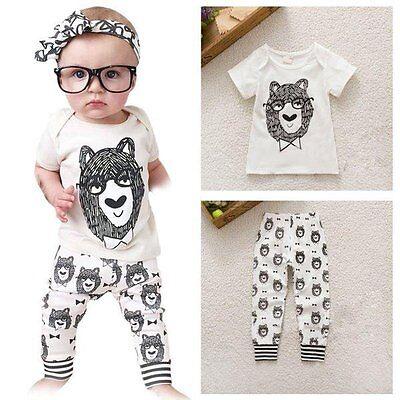 2pcs Newborn Infant Baby Boys Girls Outfits T-shirt Tops+Pants Kids Clothes Sets