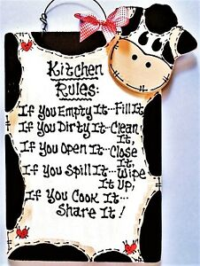 Genial Image Is Loading COW KITCHEN RULES SIGN Wall Art Hanger Plaque