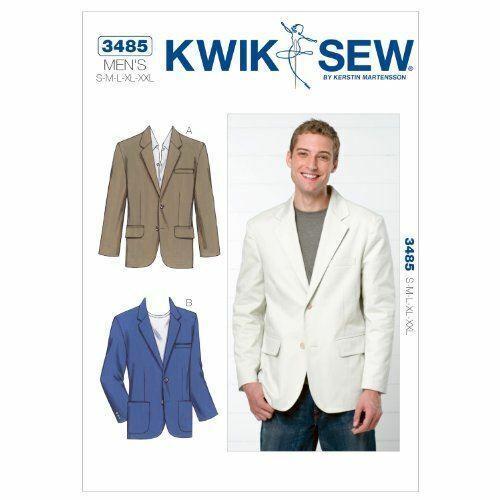 Kwik Sew Sewing Pattern 3485 Mens Jacket Blazer Size S-XXL