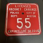 Boston MA Rare License Plate Hackney Carriage No. 55 Police Dept '10 Clean Nice