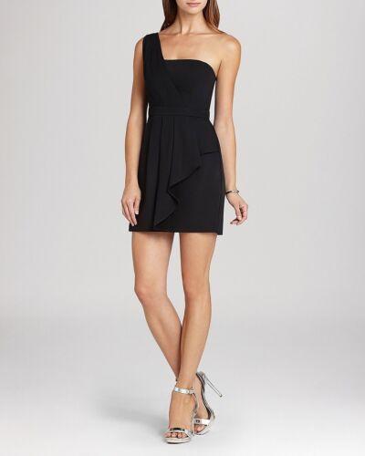 BCBG Max Azria /'Vanessa/'~Black One Shoulder Drape Sheath Party Dress 4P NEW $298